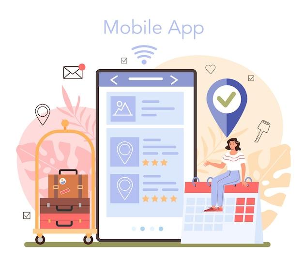 Reservar um serviço ou plataforma online de hotel. aplicativo móvel. ilustração vetorial plana