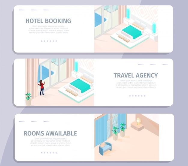 Reservas de hotéis agência de viagens salas disponíveis banner