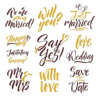 Reserve a data. letras desenhadas de mão. lettering set com diferentes palavras de convite