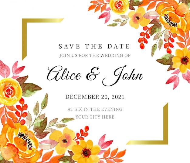 Reserve a data. modelo de cartão de convite de casamento floral amarelo