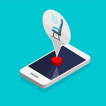 Reserve assento de avião on-line. o cursor clica e pressiona um botão. compra de passagem aérea por aplicativo de telefone. bandeira da web de viagem em um estilo isométrico moderno. conceito de tecnologia.