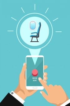 Reserve assento de avião on-line por aplicativo. vetorial mão segurando o telefone e apertar um botão. compra do assento da cabine da companhia aérea por telefone.