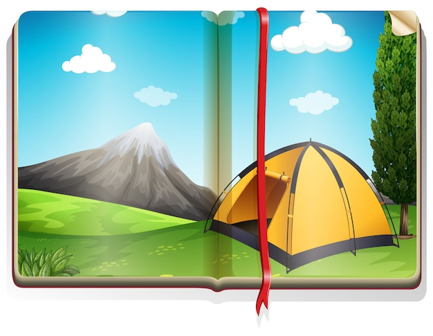 Reserve com tenda no acampamento