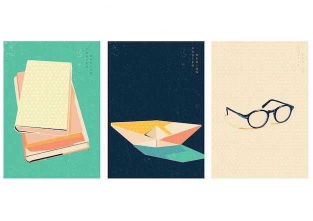 Reserve o dia, encontre seu mundo com o livro. design criativo com fundo azul, verde e amarelo. design de cartaz com barquinho de papel origami, elementos de óculos.