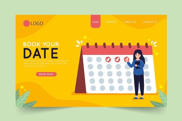 Reserve sua data na página de destino do calendário