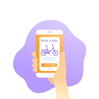 Reserve um aplicativo de bicicleta, desenho vetorial