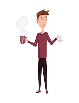 Resfriado de gripe. tratamento para gripe ou resfriado comum em casa.