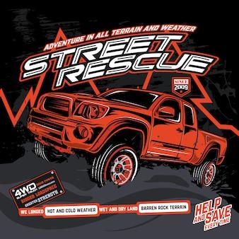 Resgate caminhões offroad, ilustrações de carros de vetor