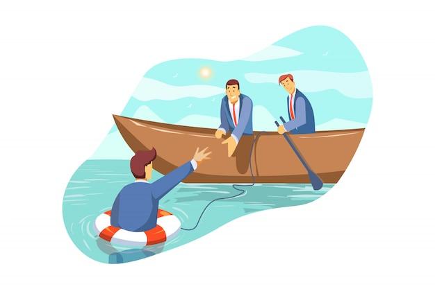 Resgate, crise, suporte, equipe, parceria, falência, conceito do negócio