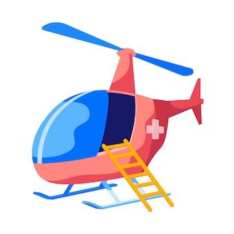 Resgate de helicóptero voando ambulância com cruz na fuselagem vermelha e escada isolada no fundo branco. transporte paramédico de aviação, veículo aéreo para transporte de pacientes. desenho animado