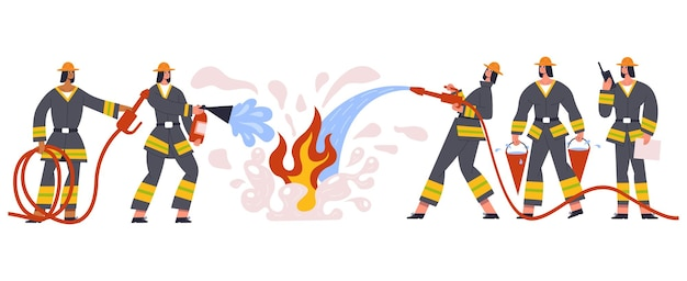 Resgate de personagens da equipe de bombeiros e serviço de emergência. equipe de emergência de bombeiros regando o fogo, lutando com conjunto de ilustração vetorial de chamas. departamento de segurança do grupo de bombeiros corajosos