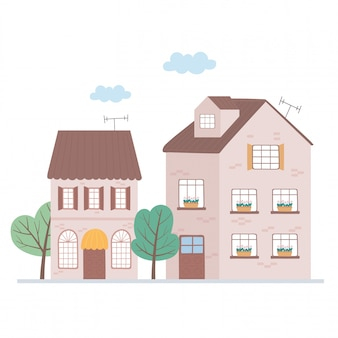 Residencial casas bairro propriedade telhado antena árvores