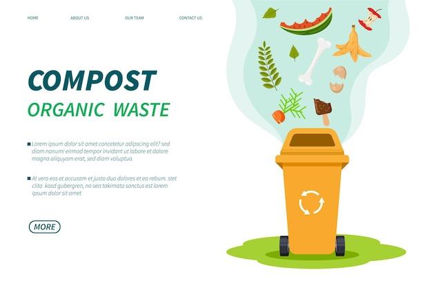 Resíduos de composto. modelo de lixo orgânico para compostagem
