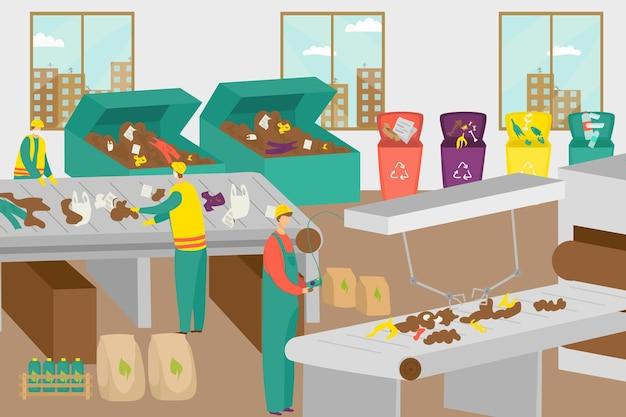 Resíduos de fábrica de tecnologia moderna reciclar planta pessoas trabalhador caráter juntos processamento de plástico em ...