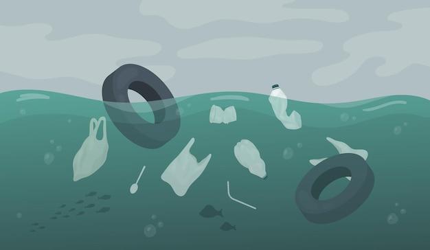 Resíduos de poluição flutuando no oceano, mar ou rio, água, carro, pneus, sacos plásticos