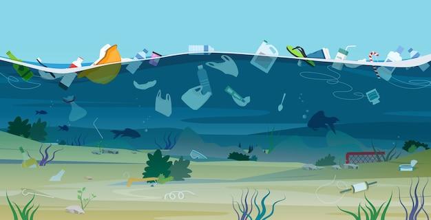 Resíduos e plásticos prejudiciais à ecologia despejados no mar