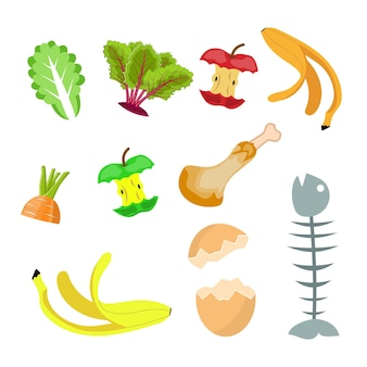 Resíduos orgânicos, coleta de composto alimentar banana, ovo, espinha de peixe e toco de maçã