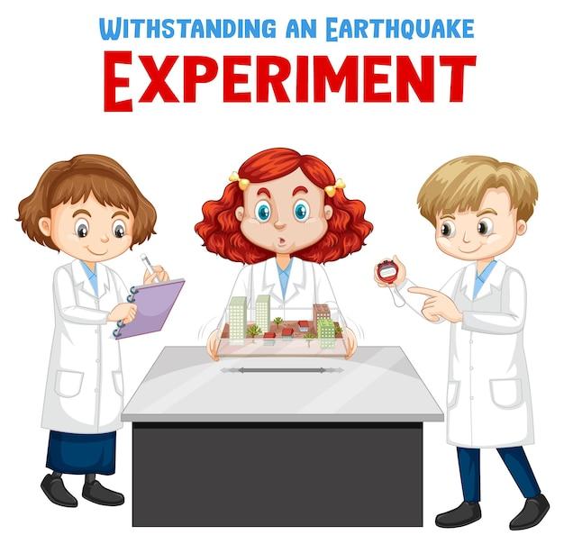 Resistindo ao experimento de terremoto com o personagem de desenho animado de um cientista