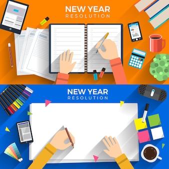 Resoluções de ano novo de conceito de design plano de ilustrações por meio de meta definida com escrever no papel para o sucesso da missão. ilustrar.