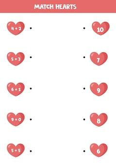 Resolva a equação dentro do coração e conecte-se com a resposta certa.