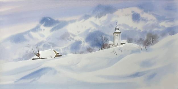 Resort de aquarela nas montanhas