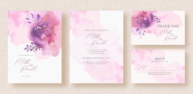 Respingo abstrato aquarela rosa e roxo com formas florais em background de convite de casamento