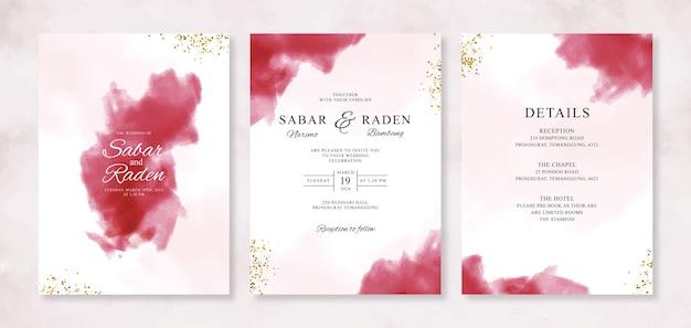 Respingo abstrato em aquarela para modelo de convites de cartão de casamento