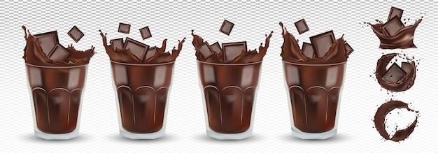 Respingo de chocolate 3d realista no vidro transparente com pedaços de chocolate. grande coleção de cacau ou café. salpicos de chocolate amargo. chocolate quente, bebida, coquetel. conjunto de ícones. ilustração