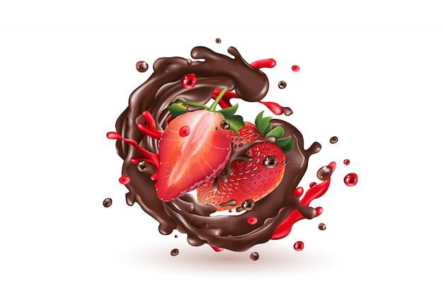 Respingo de chocolate com morangos em um fundo branco.