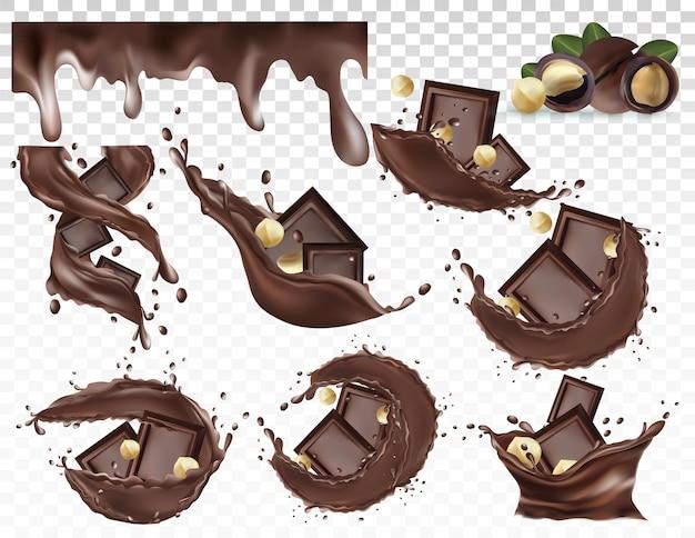 Respingo de chocolate com nozes de macadâmia. pasta de nozes de chocolate amargo.