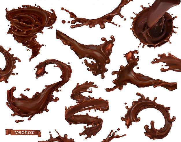 Respingo de chocolate. conjunto de vetor realista 3d