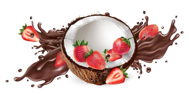 Respingo de chocolate líquido e coco fresco com morangos.