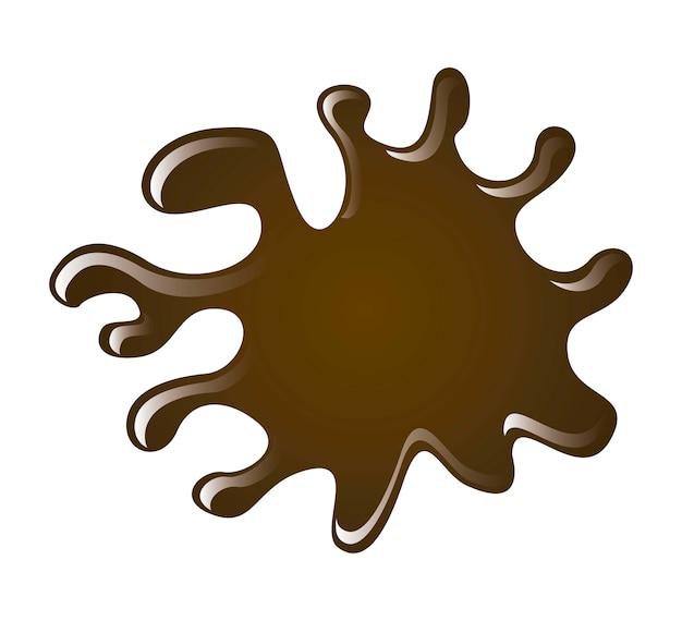 Respingo de chocolate sobre ilustração vetorial de fundo branco