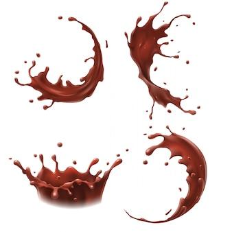 Respingo de leite com chocolate, milkshake espirra gota, saborosos chocolates leites sacode espirrando conjunto realista