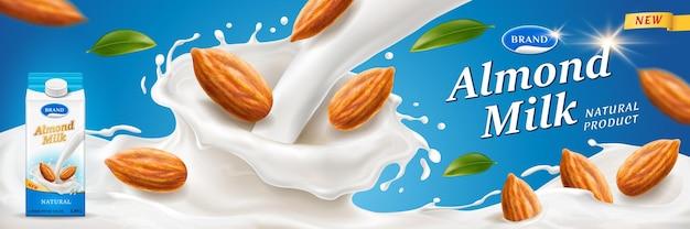 Respingo de leite de amêndoa com nozes para anúncios de embalagens