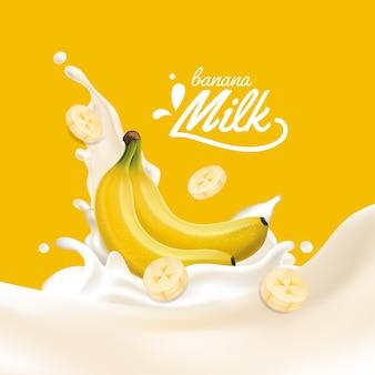 Respingo de leite de banana amarela realista