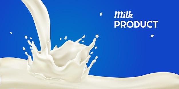 Respingo de produto lácteo realista isolado em azul