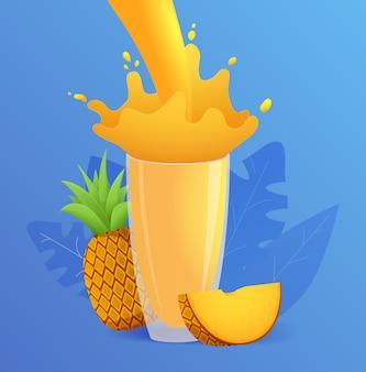 Respingo de suco de abacaxi em um copo de frutas tropicais.