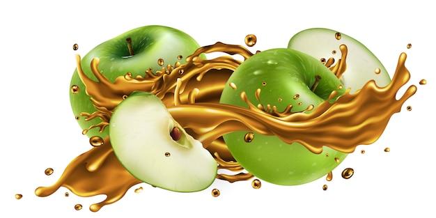 Respingo de suco de frutas e maçãs verdes frescas.