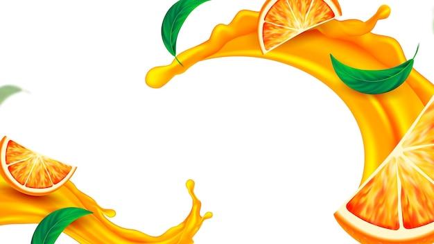 Respingo de suco de laranja e vetor de espaço de cópia de hortelã