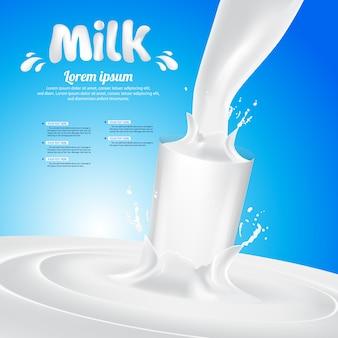 Respingo de vidro de leite vector background ilustração