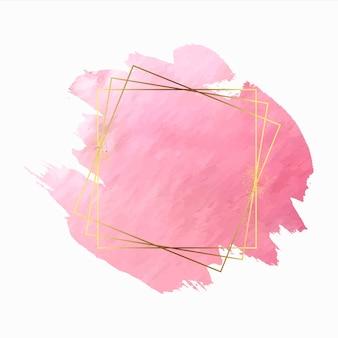 Respingo decorativo de aquarela rosa com moldura dourada