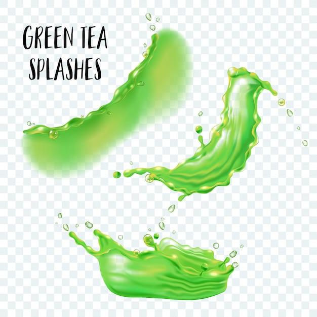 Respingo realista de chá verde ou suco isolado em fundo transparente. conjunto de respingo líquido verde, gotas verdes.
