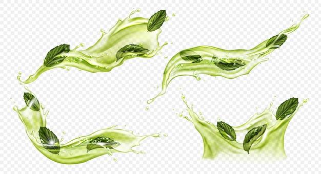 Respingo realista de vetor de chá verde ou matcha