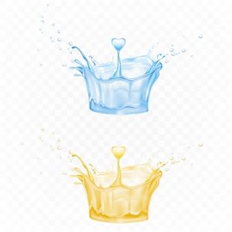 Respingos de água em forma de coroa nas cores azuis e amarelas com gotículas de pulverização e gota de coração