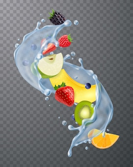 Respingos de água realistas com morangos frescos, amoras, melão, kiwis, segmentos de frutas no escuro