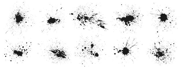 Respingos de tinta do grunge. conjunto de respingos de tintas, manchas de gotas em spray e quadro com traços de gotas de tinta úmida.