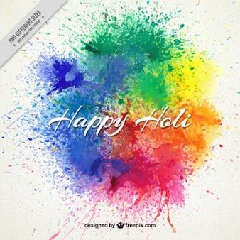 Respingos de tinta Holi feliz fundo