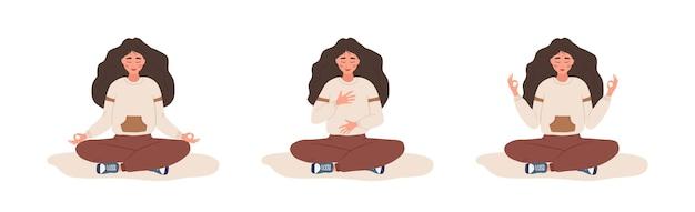 Respiração abdominal. mulher praticando respiração abdominal para um bom relaxamento.