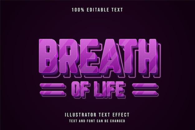 Respiração de vida, efeito de texto editável em 3d gradação rosa estilo de texto neon roxo